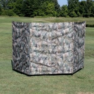 4 Pole 54″ Tall HD Blind- Front View-Camo in the field, Steinman Retriever Products